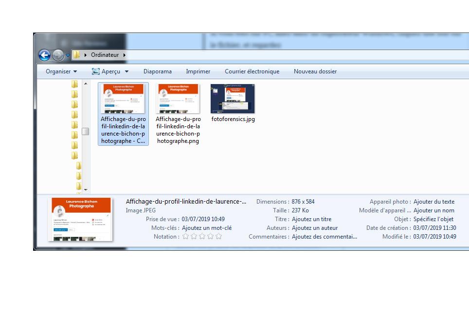 taille de fichier avec windows explorer