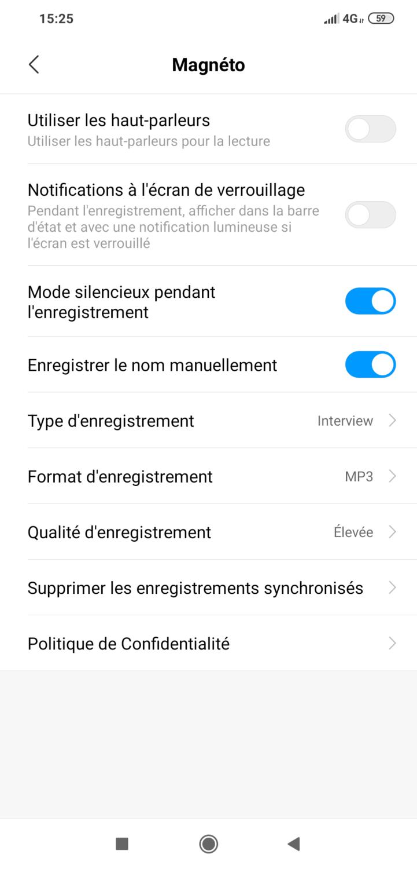 "Capture de l""écran des paramètres du magnetophone pocophone f1 de Xiaomi"
