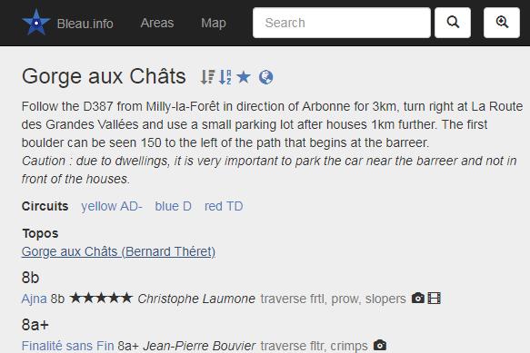 screen capture of the climbing website bleau.info