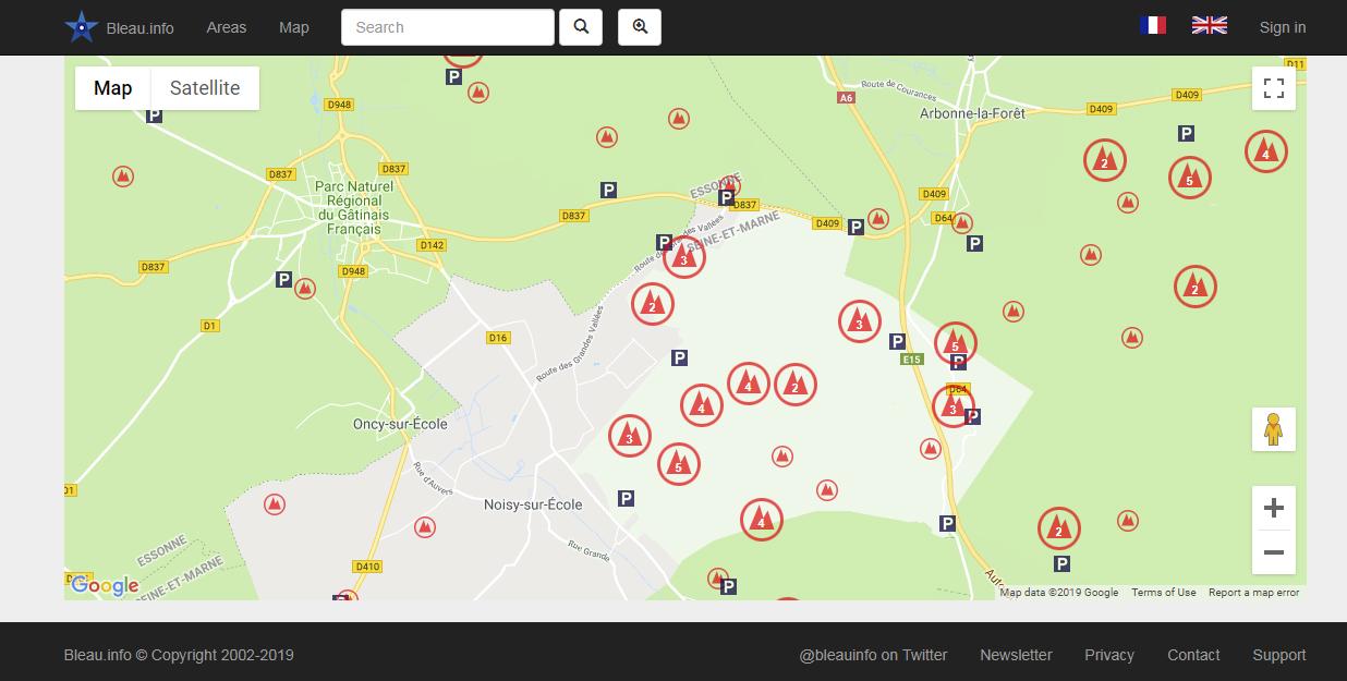fontainebleau bouldering map : Excerpt map bleau.info