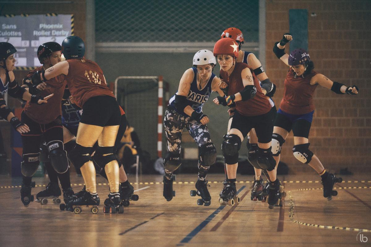 roller derby - paris rollergirls sans culottes vs les phoenix de gennevilliers - allezlesfilles - laurence bichon photographe de sport feminin