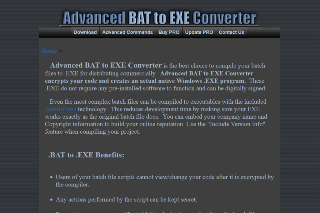 battoexeconverter welcome window.