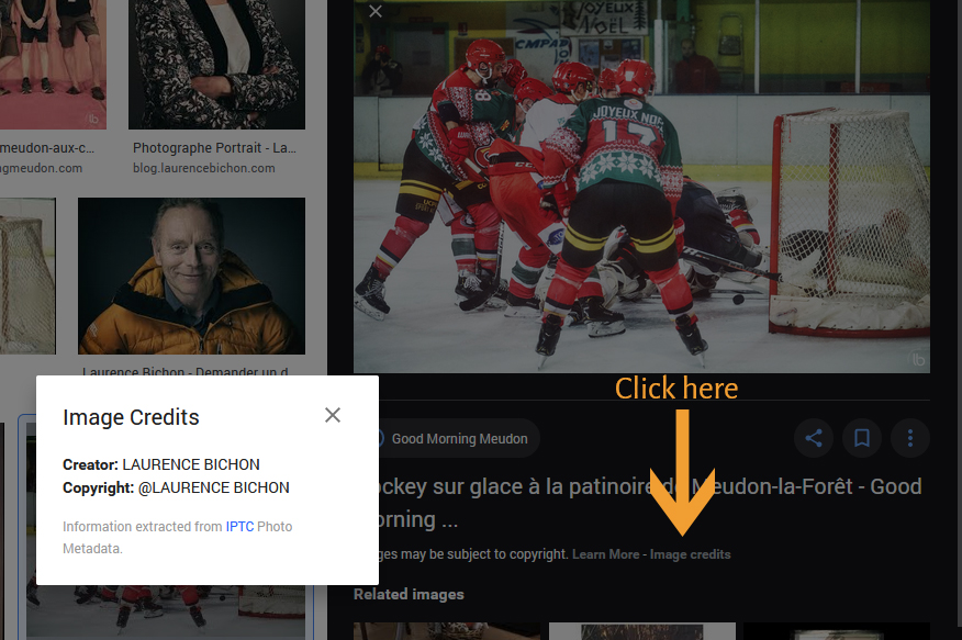 Google Images shows Images Credits of one of my icehockey images.