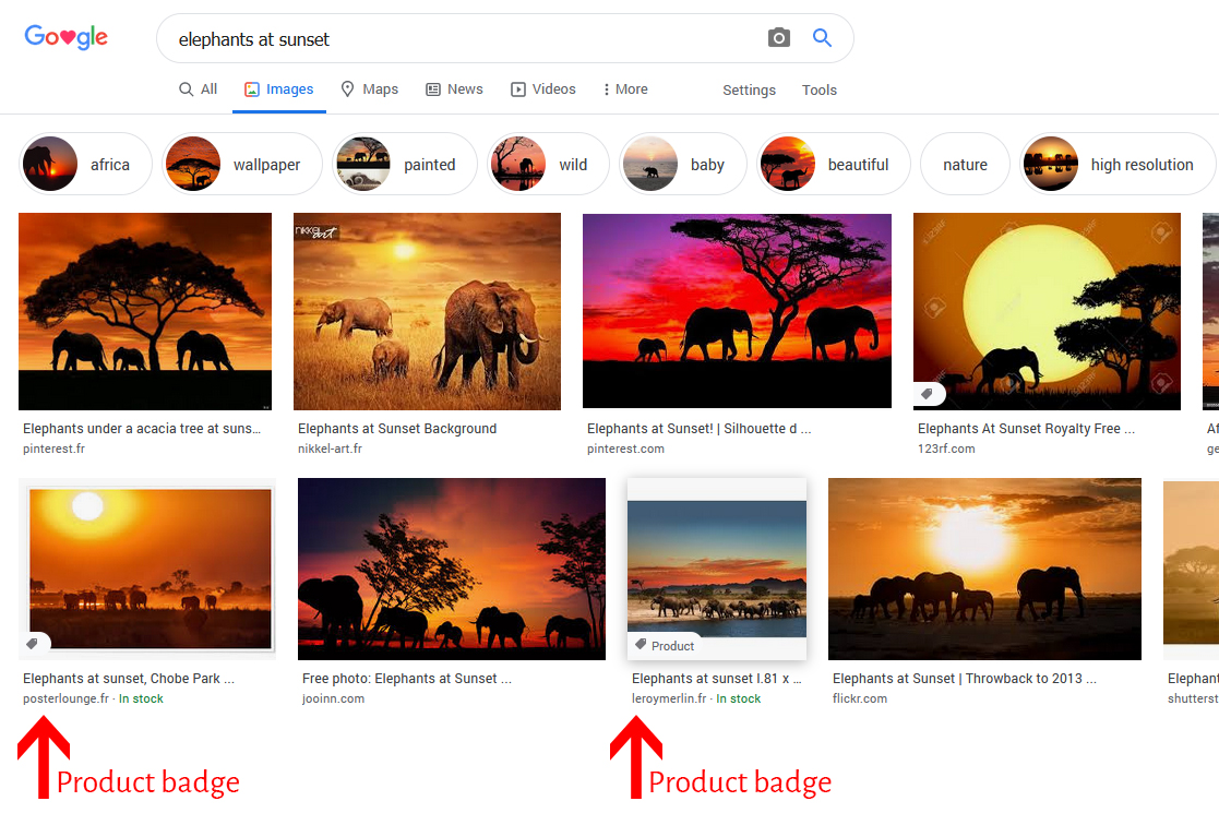 Illustration for prominent badges in Google Images.