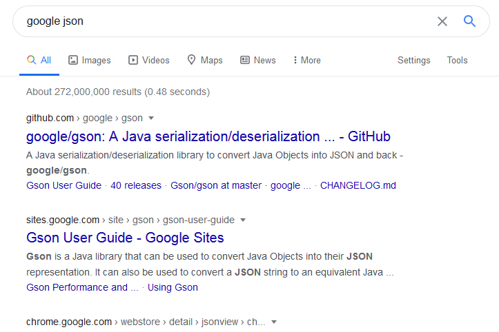 Google search result with only attribution, link and short description.