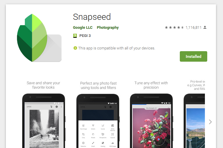 Snapseed est une application iOs et Android de retouche photo.