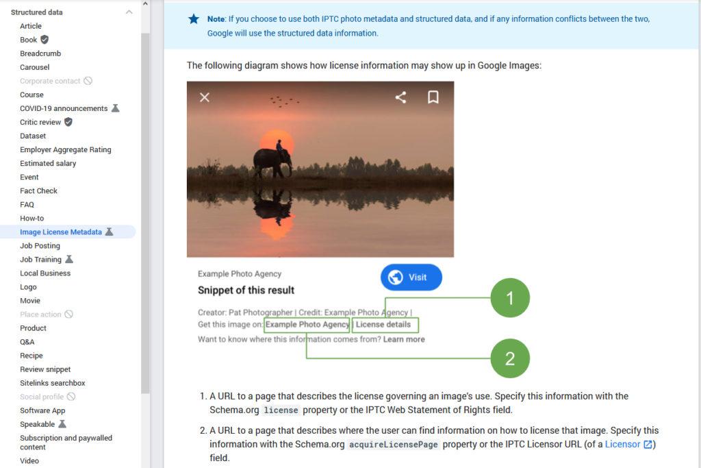 Screenshot of Google Image License documentation page : https://developers.google.com/search/docs/data-types/image-license-metadata.