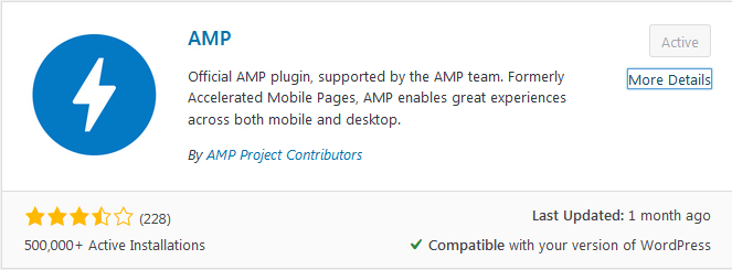 AMP for WordPress plugin description.