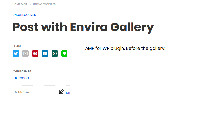 Envira gallery displayed as AMP page with AMP for WP plugin.