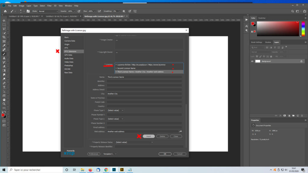 Screenshot to illustrate how to create several Licensor structures in Photoshop Fileinfo - Laurence Bichon Photographer.