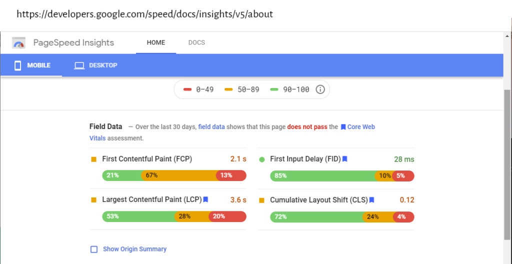 Google PageSpeed Insight Field data (Core Web Vitals) for page Lab data for https://developers.google.com/speed/docs/insights/v5/about.