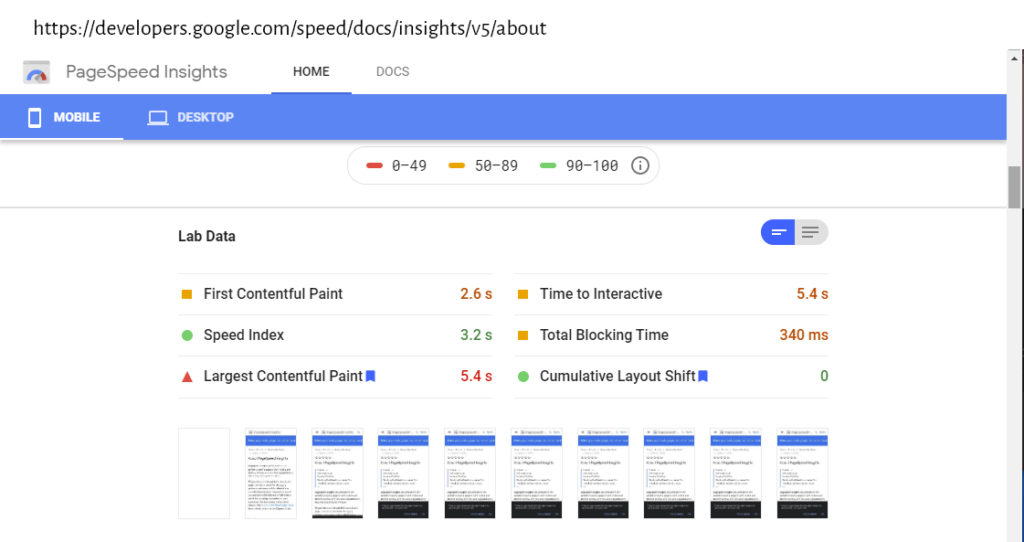 Google PageSpeed Insight Lab data for page Lab data for https://developers.google.com/speed/docs/insights/v5/about.