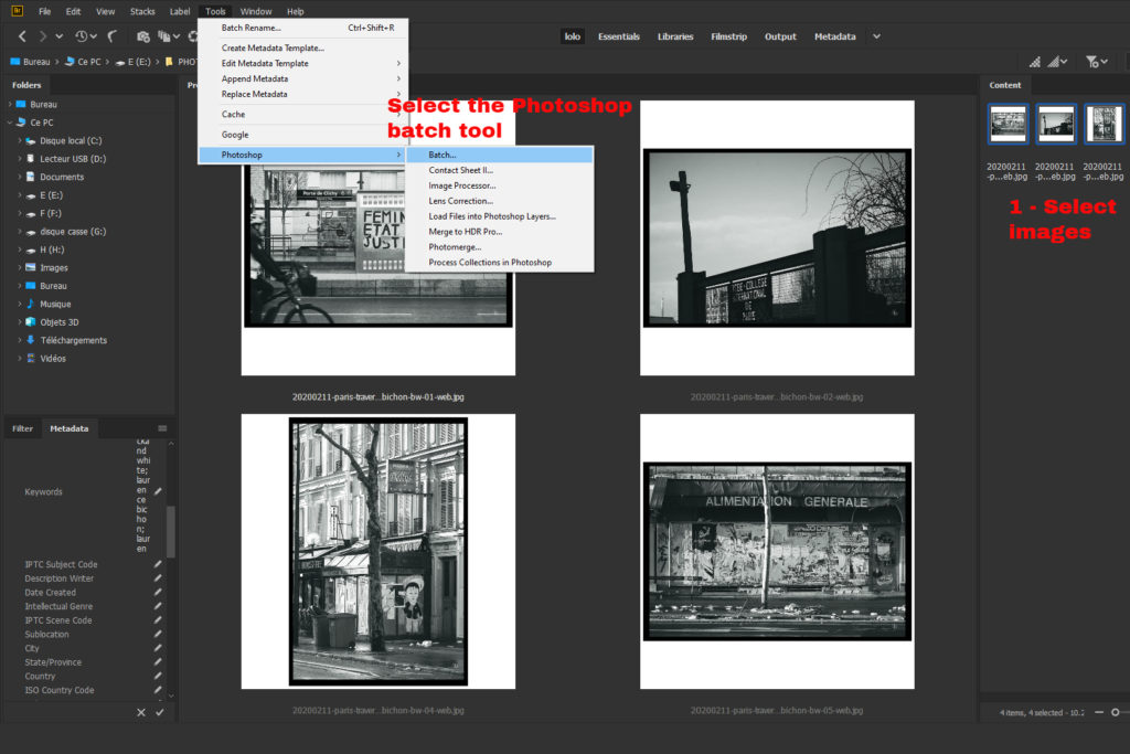Screenshot of Bridhe Photoshop batch tool.