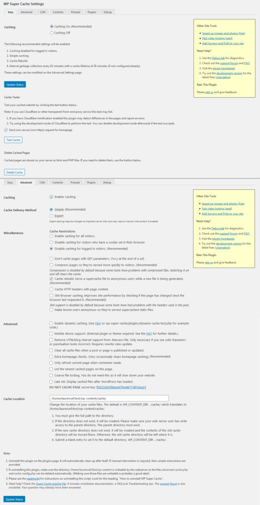 My settings for WordPress optimization plugin WP Super Cache.