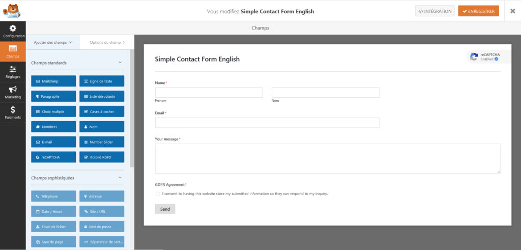 Screenshot of WPFoms form creation panel.